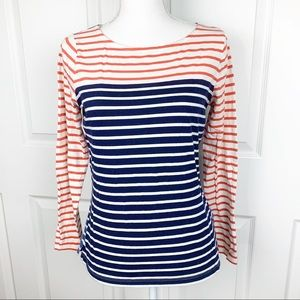 Boden Orange Blue Striped Long Sleeve Top